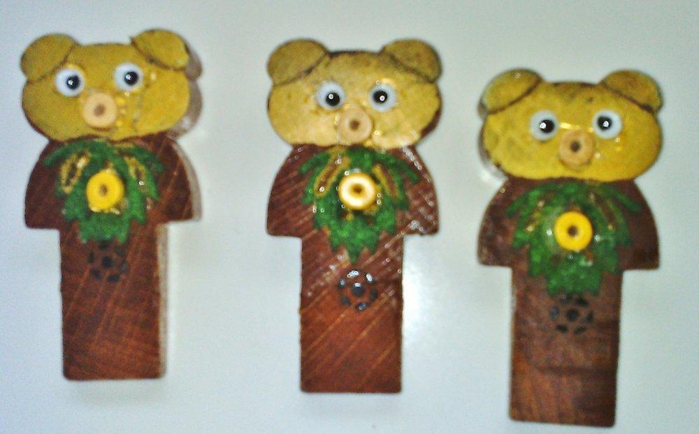 Lot 3 petits oursons marque-places pyrogravé et perles en bois drôle