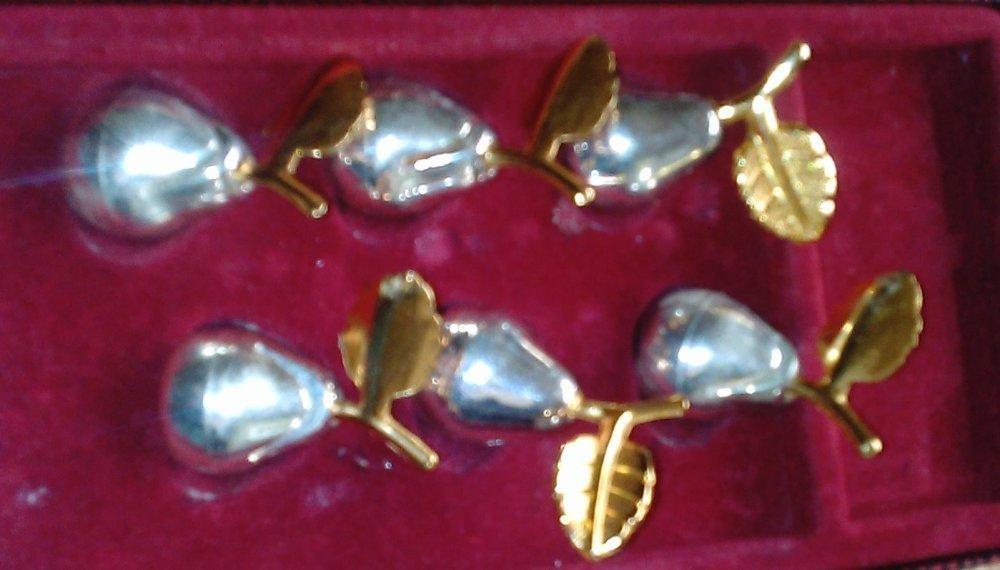 Lot de 6 petits poire-métal porte-noms et marque-places