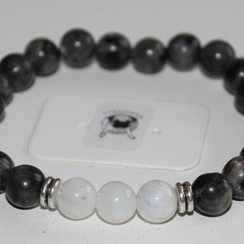 Bracelet labradorite et pierre de lune