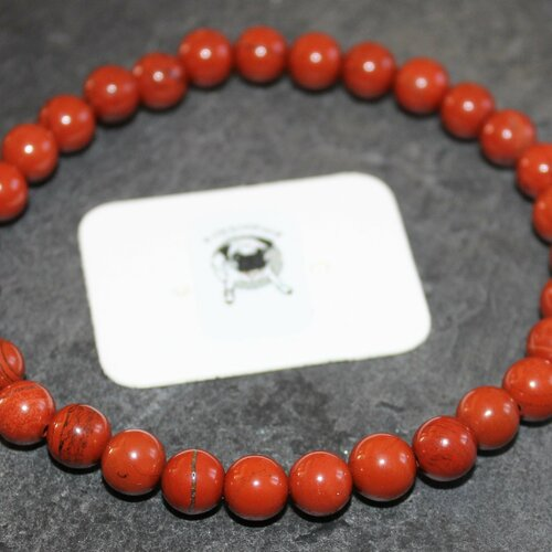 Bracelet jaspe rouge - pierres naturelles - 6mm