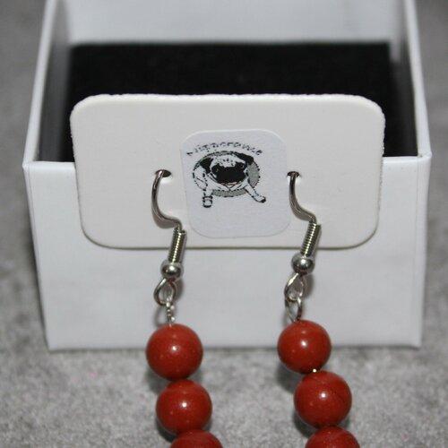 Boucles d'oreilles en jaspe rouge