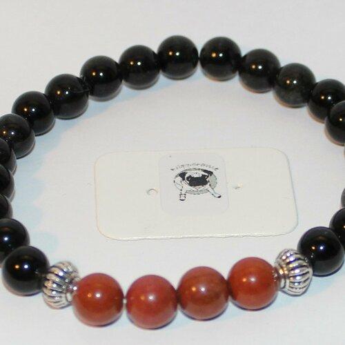 Bracelet obsidienne & jaspe rouge - pierres naturelles - 8mm