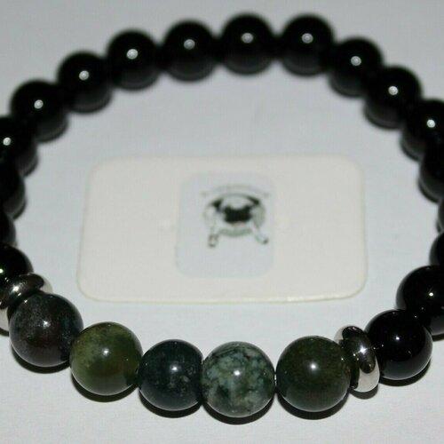 Bracelet agate noire et agate indienne - pierres naturelles - 8mm