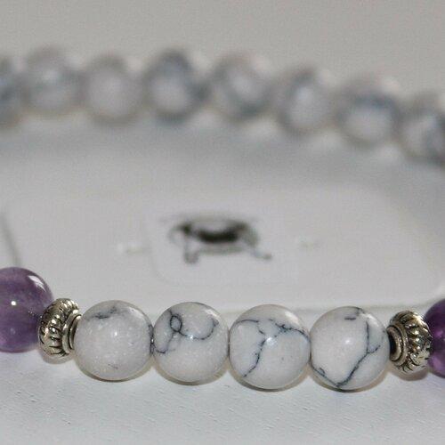 Bracelet howlite et améthyste - pierres naturelles - 6mm