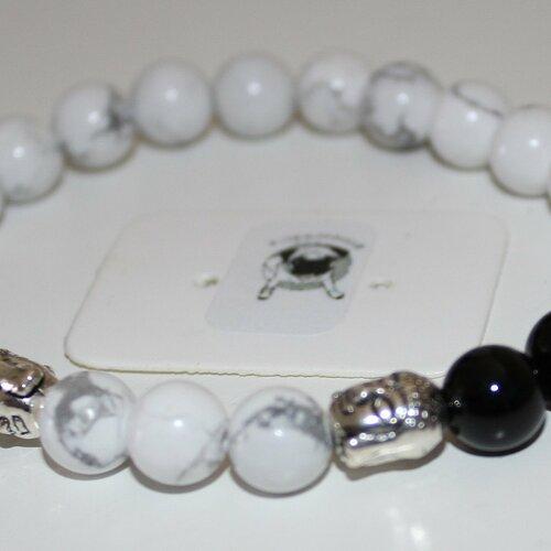 Bracelet howlite et agate noire - pierres naturelles - 8mm