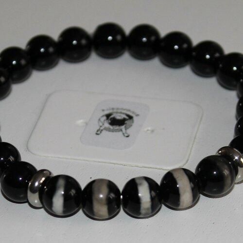 Bracelet agate noire et agate dzi noire - pierres naturelles - 8mm