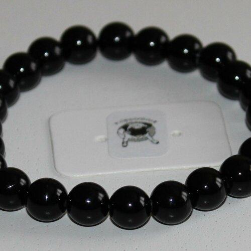 Bracelet agate noire - pierres naturelles - 8mm