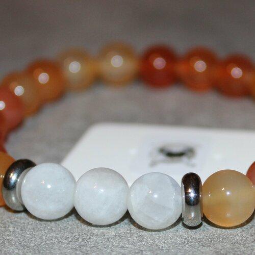 Bracelet cornaline & pierre de lune - pierres naturelles - 8mm