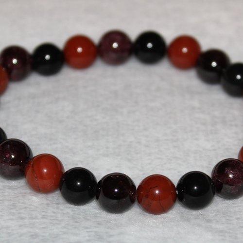 Bracelet obsidienne, jaspe rouge et grenat - pierres naturelles - 8mm