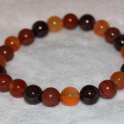 Bracelet cornaline, jaspe rouge et grenat - pierres naturelles - 8mm