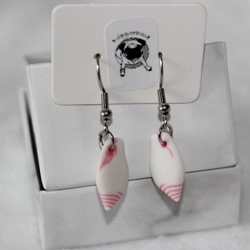 Boucles d'oreilles coquillage arrondi rose clair