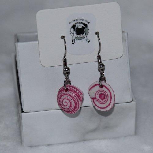 Boucles d'oreilles coquillage rond rose foncé