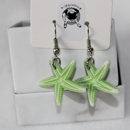 Boucles d'oreilles etoile de mer vert