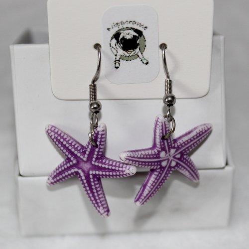 Boucles d'oreilles etoile de mer violet