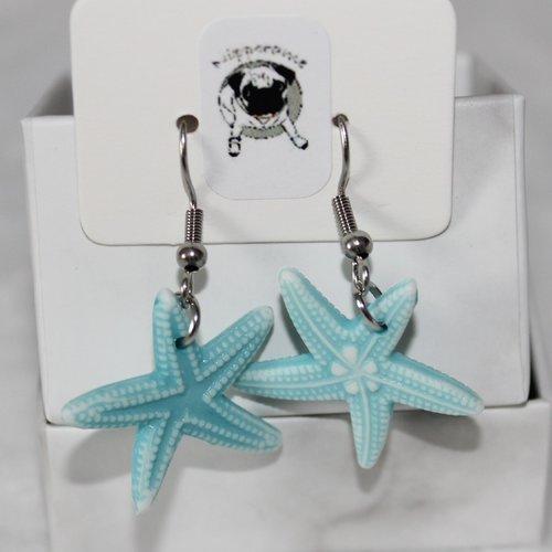 Boucles d'oreilles etoile de mer bleue