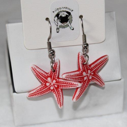 Boucles d'oreilles etoile de mer rouge