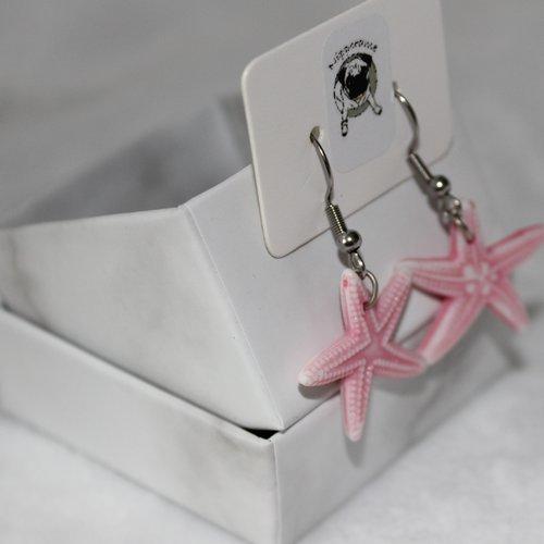 Boucles d'oreilles etoile de mer rose clair