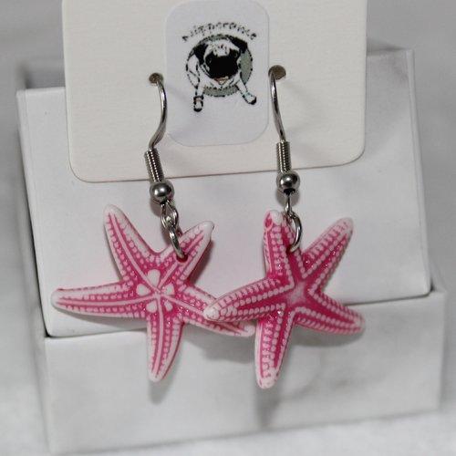 Boucles d'oreilles etoile de mer rose foncé