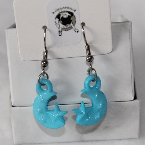 Boucles d'oreilles lune et étoile bleu