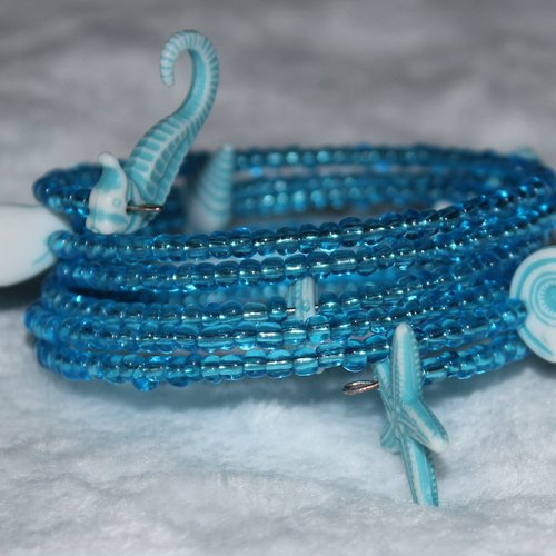 Bracelet coquillages bleus - mémoire de forme - perles de rocaille (verre)