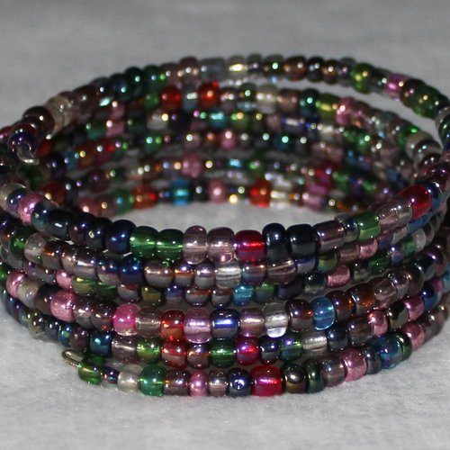 Bracelet irisé - mémoire de forme - perles de rocaille (verre)