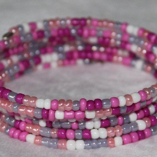 Bracelet rose, blanc, gris - mémoire de forme - perles de rocaille (verre)