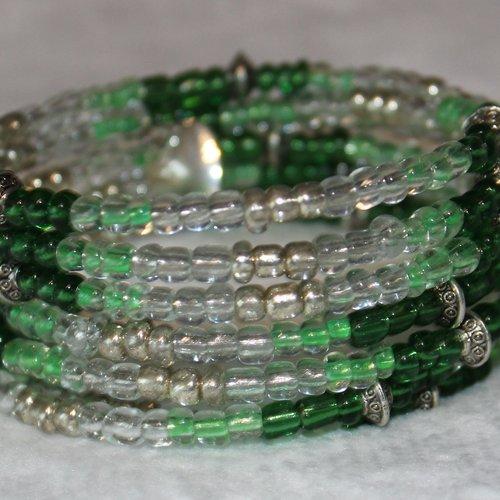 Bracelet vert foncé - mémoire de forme - perles de rocaille (verre)