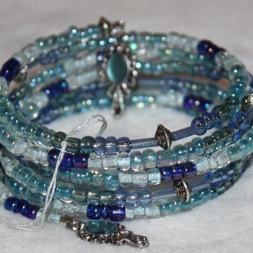 Bracelet bleu - mémoire de forme - perles de rocaille (verre)