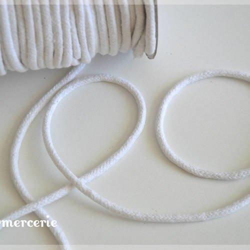 Corde coton tressée - cordon blanc - 5 mm