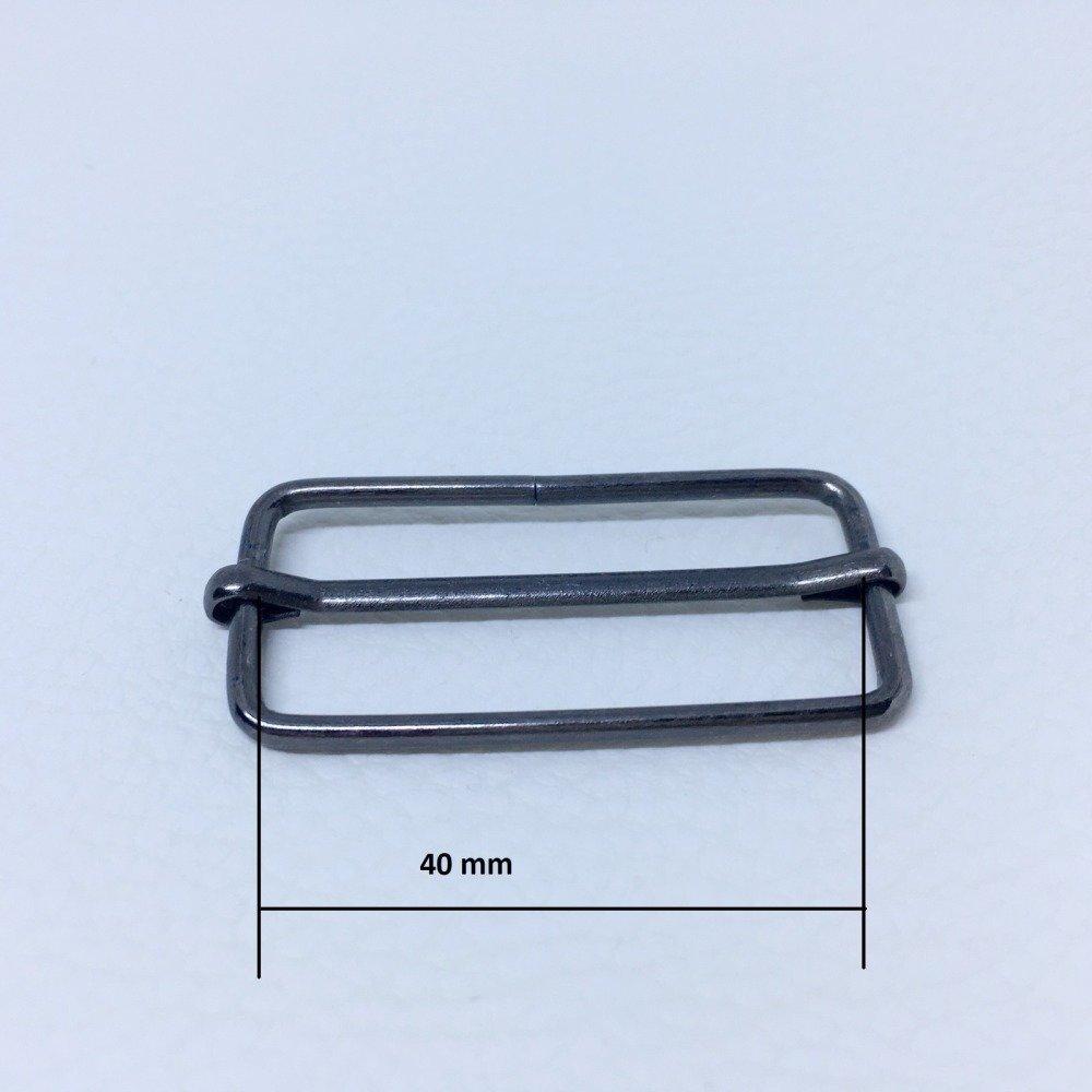 Boucle coulissante, passant métal 40 mm - coloris Noir Lot 10 pcs
