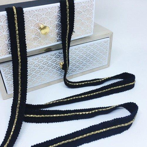 Galon noir, doré métal 1.5 cm