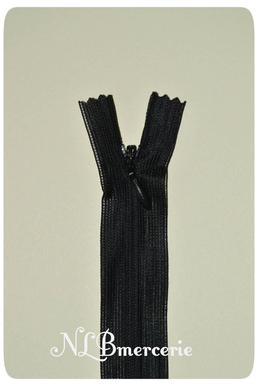 Fermeture à glissière, Éclair  invisible noire 35 cm