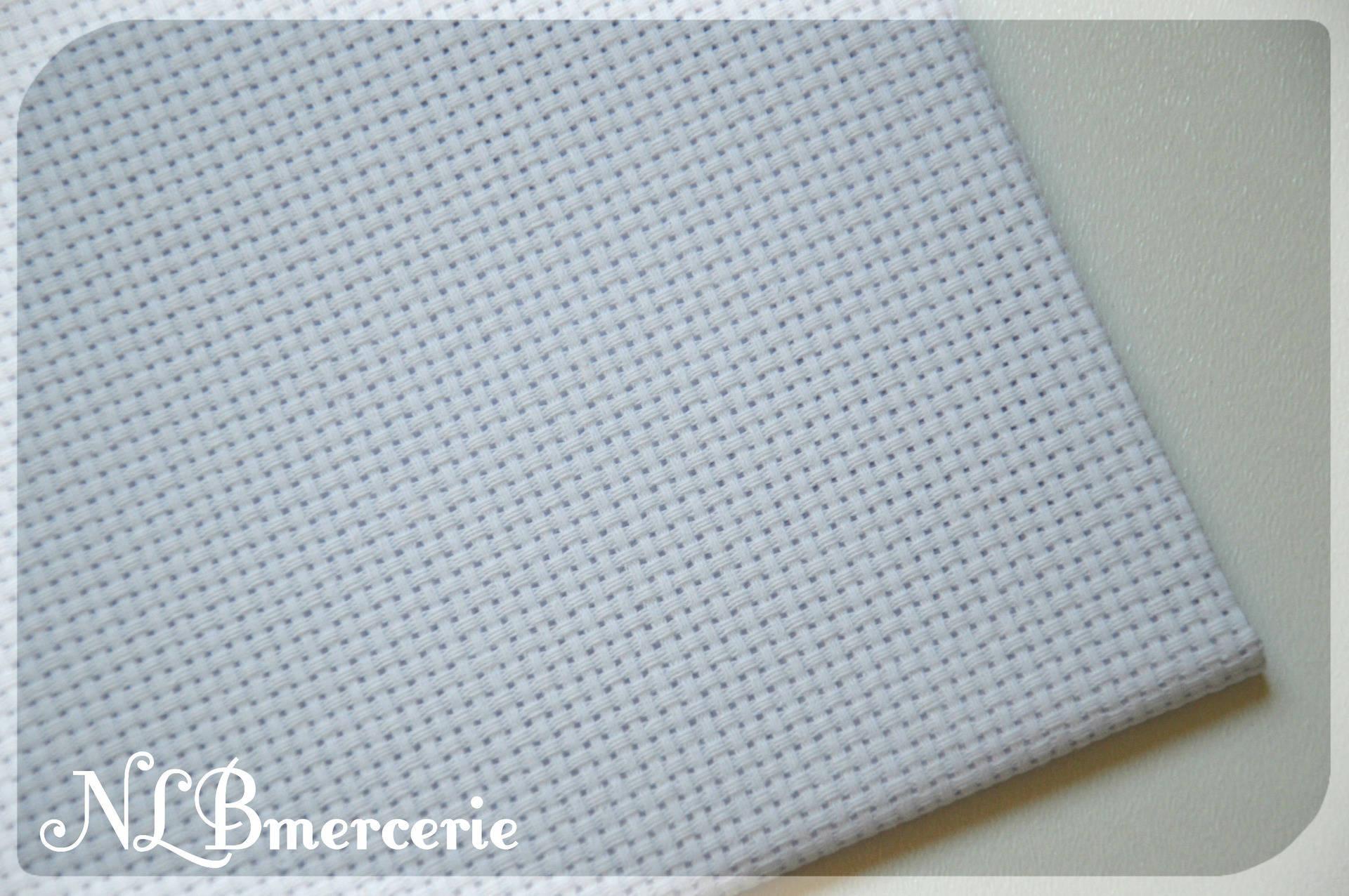 Toile à broder Aida, canevas prédécoupé blanc 30 x 20 cm