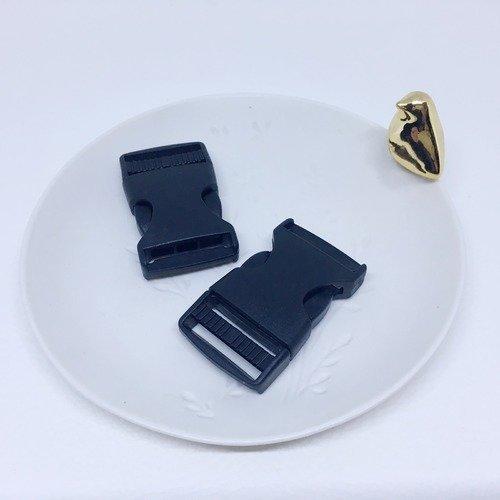 Boucle banane, fermoir boucle, noire à clips en plastique, taille 25 mm, lot 10