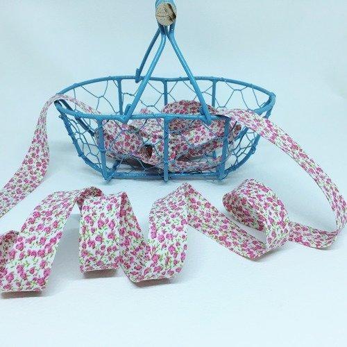 Biais fantaisie fleuri rose coton 20 mm