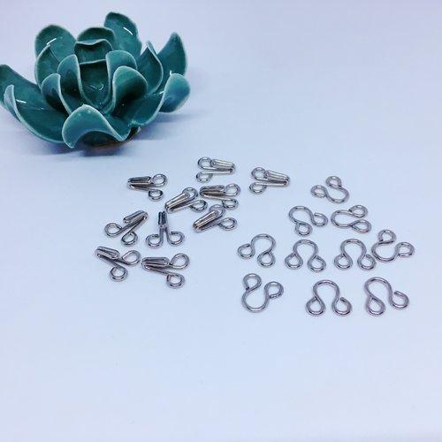 Agrafe, crochets à jupe métalliques gris argentés - taille 9 (16mm)  - 10 jeux