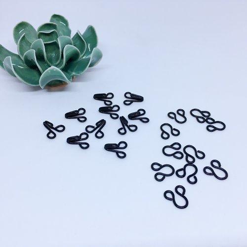 Agrafe, crochets à jupe métalliques noir  - taille 9 (16mm) - 10 jeux