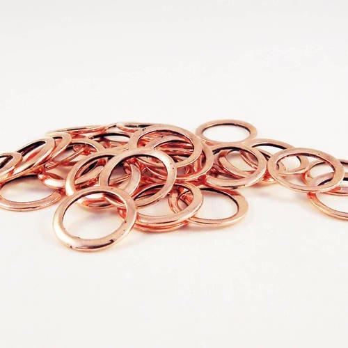 Fc11 - 10 anneaux de jonction fermés de couleur rosé vieilli plaqué or rose de 12mm de diamètre avec légères imperfections
