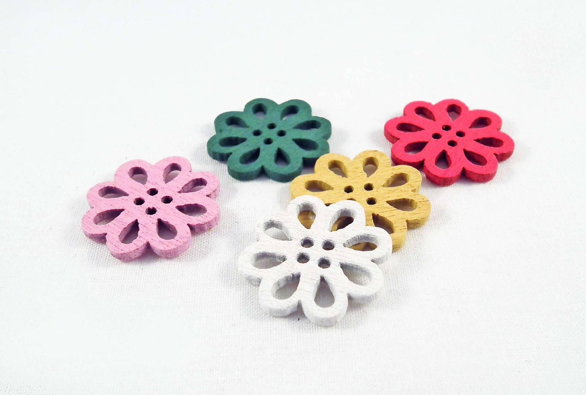 PBB20 - Lot de 5 Perles connecteurs en Bois en forme de Fleurs de couleurs mixtes Intercalaire Spacer