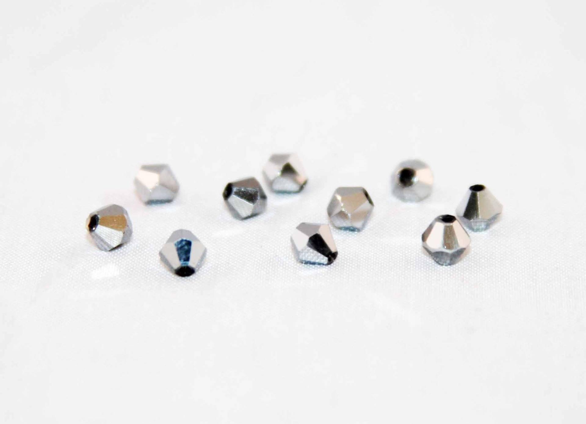 Lot de 50 perles à facettes 4mm gris