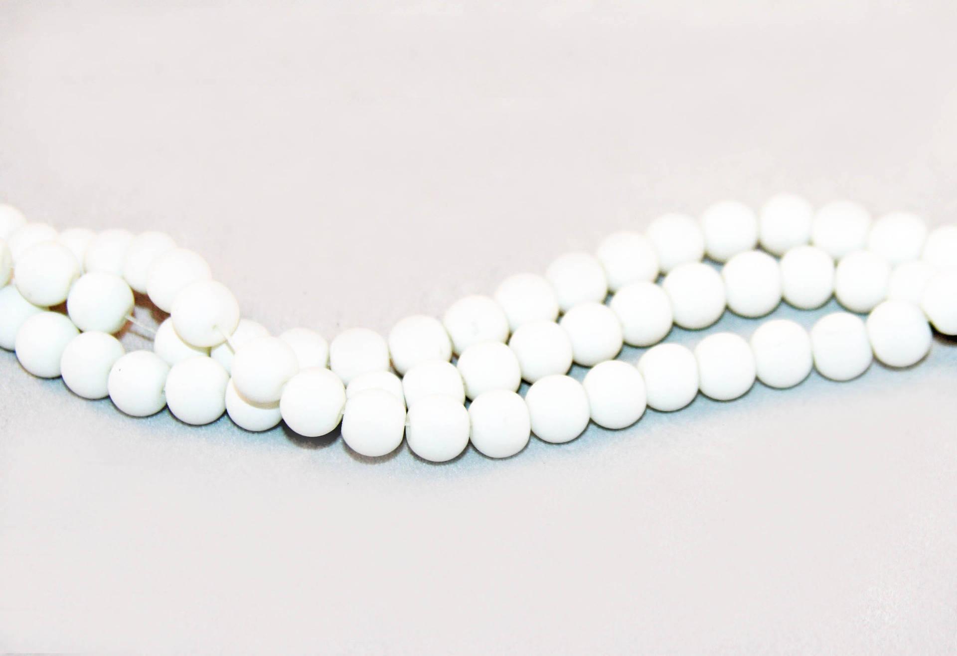 PMC06 - Rares 5 perles en Verre Blanc opaque finit mat doux effet caoutchouc Vintage Romantique de 8mm