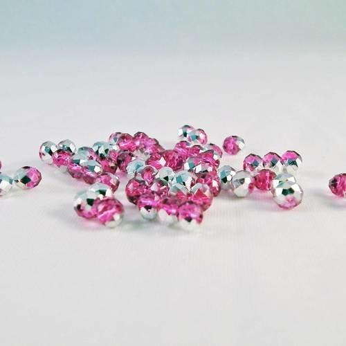 Psw45 - 10 perles précieuses 4x3mm en verre cristal deux couleurs argenté et rose bicolore
