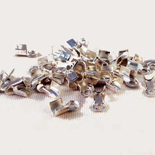 100 Embouts pour cordon 2mm 6mm x 3mm 6x3mm à écraser Plier Métal couleur bronze