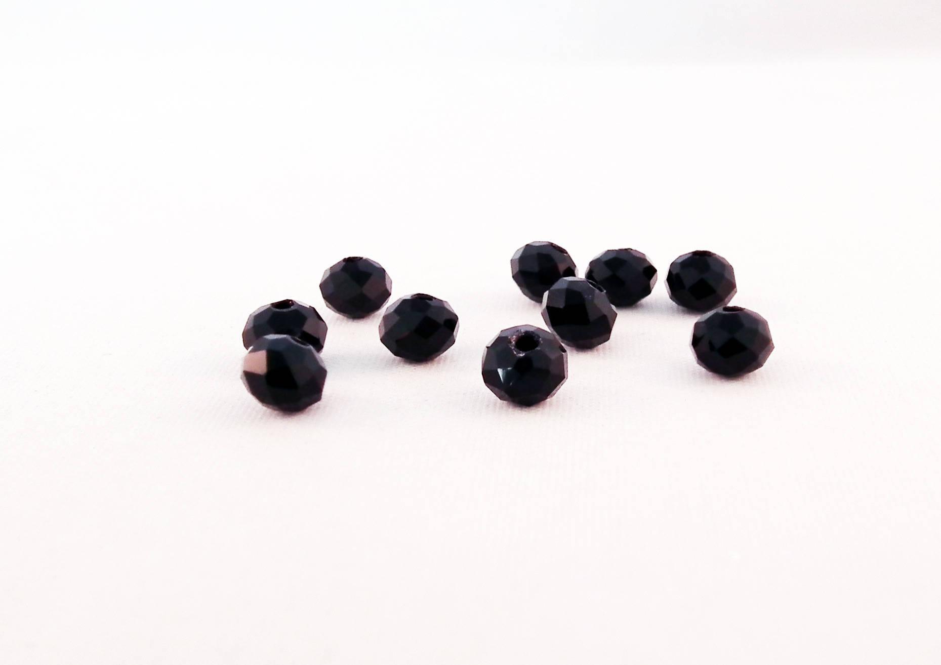 PSM16P - 10 Perles Précieuses 6X4mm Noir en Verre Cristal de couleur Noir
