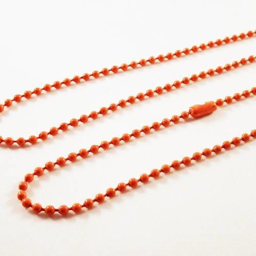 Alf1j - collier à chaîne à billes boules en métal de couleur orange de 70cm