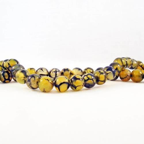 Alg4p -  1 enfilade de perles 6mm en agate veine de dragon teintes jaune marron fissure noir transparent