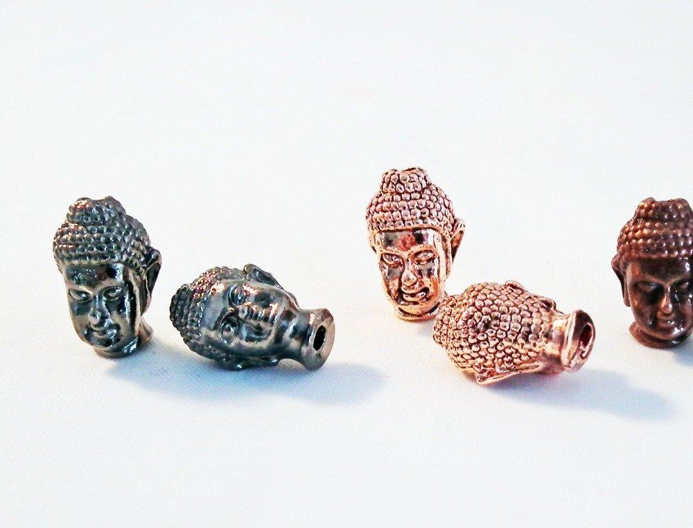 ISP22G - 2 Perles Breloques Charm Buddha, Intercalaire Spacer, GUNMETAL