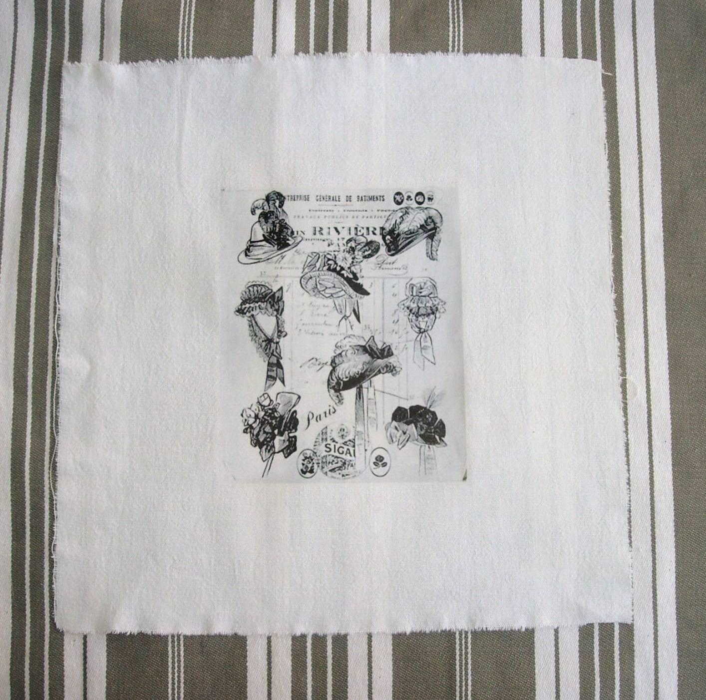 COUPON COTON TRANSFERT ANCIENS CHAPEAUX 28 cm x 21 cm