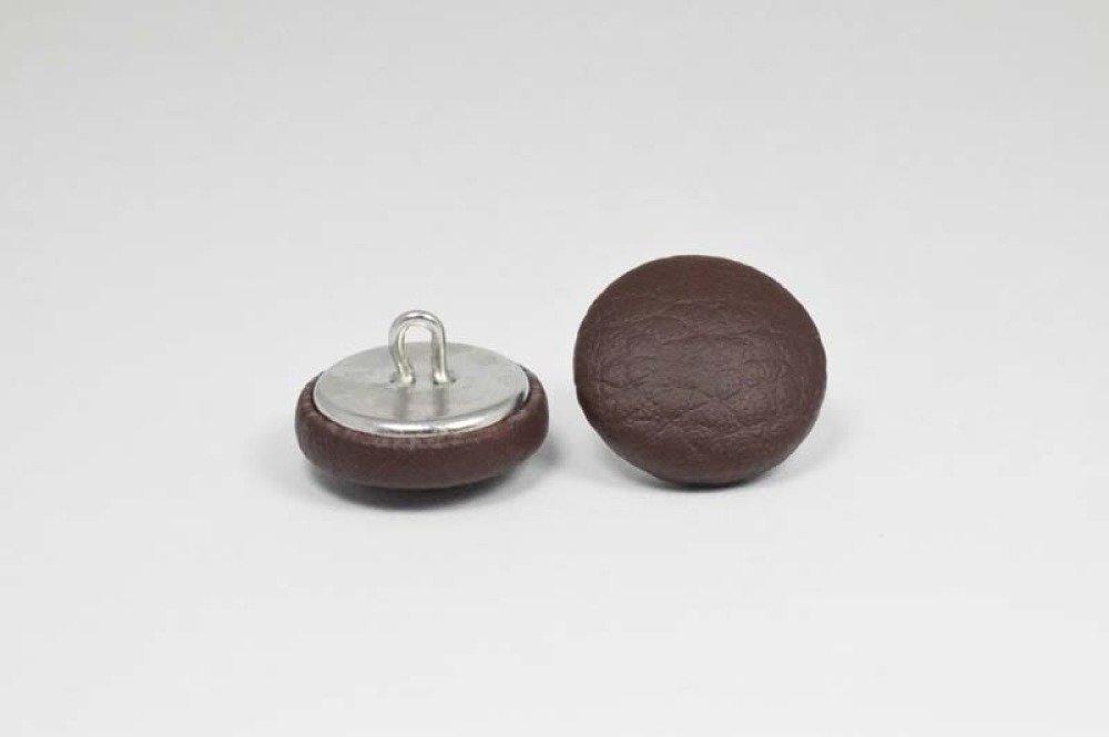 Bouton recouvert de simili cuir - chocolat