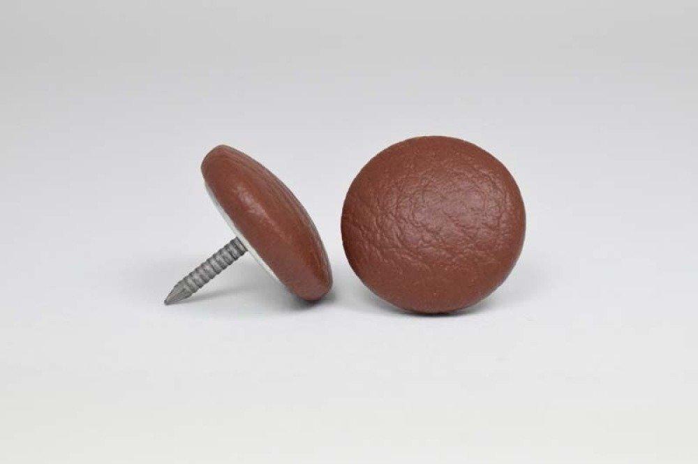 Bouton recouvert de simili cuir - brun